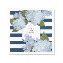 Nautical Navy Blue White Striped Hydrangea Floral Paper Napkin