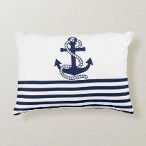 Nautical Navy blue White Stripes and Blue Anchor Decorative Pillow