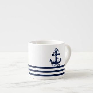 Nautical Navy Blue White Stripes and Blue Anchor Espresso Cup