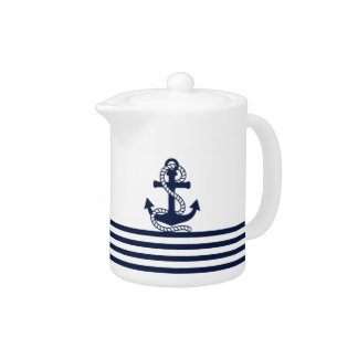 Nautical Navy Blue White Stripes and Blue Anchor Teapot