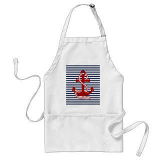 Nautical Navy Blue White Stripes and Red Anchor Adult Apron