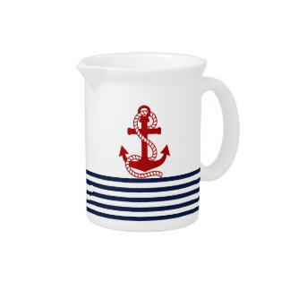 Nautical Navy Blue White Stripes and Red Anchor Pitchers