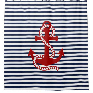 Nautical Navy Blue White Stripes And Red Anchor Shower Curtain