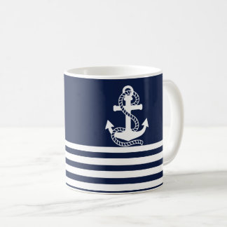 Nautical Navy Blue White Stripes and White Anchor Coffee Mug