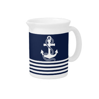 Nautical Navy Blue White Stripes and White Anchor Drink Pitchers