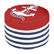 Nautical Navy Blue White Stripes and White Anchor Pouf