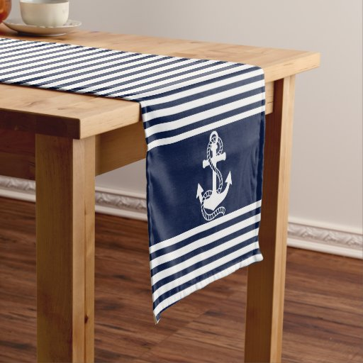 Zazzle Nautical Navy Blue White Stripes And White Anchors.