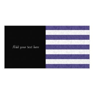 Nautical Navy Blue White Stripes Card