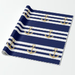"""Nautical Navy Blue White Stripes Gold Anchor Wrapping Paper<br><div class=""""desc"""">Use these  unique wrapping papers for any occasion.  Nautical theme weddings,  baby shower,  birthday,  party,  events, ... ..Navy blue and white stripes with gold anchor.  Perfect for wrapping gifts,  presents,  favors,  crafts,  furniture,  table runners,  covers... .</div>"""
