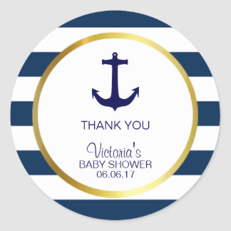 Nautical Navy Blue White Stripes Gold Baby Shower Classic Round Sticker