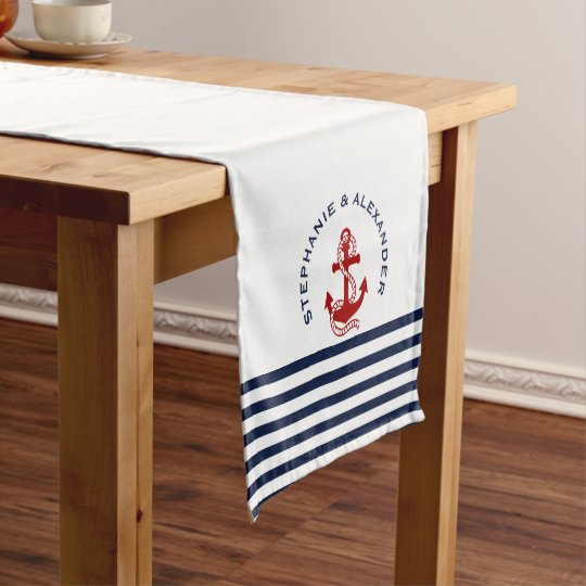 Nautical Navy Blue White Stripes Red Anchors Short Table Runner