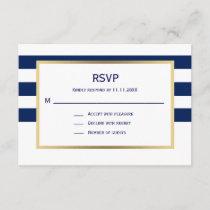 Nautical Navy Blue White Stripes RSVP Wedding