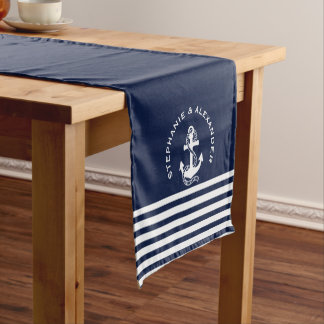Nautical Navy Blue White Stripes U0026amp; White Anchors Short Table Runner