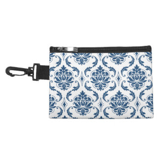 Nautical Navy Blue White Vintage Damask Pattern Accessory Bag