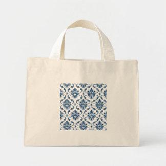 Nautical Navy Blue White Vintage Damask Pattern Tote Bags