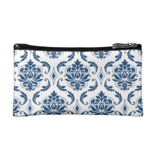Nautical Navy Blue White Vintage Damask Pattern Makeup Bag