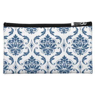 Nautical Navy Blue White Vintage Damask Pattern Cosmetics Bags