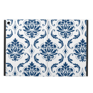Nautical Navy Blue White Vintage Damask Pattern iPad Air Cover