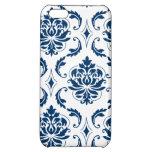 Nautical Navy Blue White Vintage Damask Pattern Case For iPhone 5C