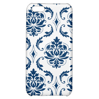 Nautical Navy Blue White Vintage Damask Pattern Case For iPhone 5C