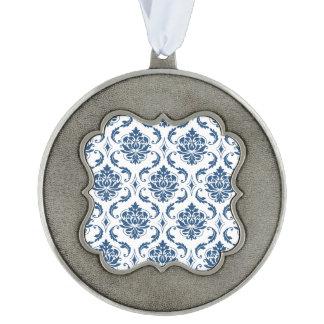 Nautical Navy Blue White Vintage Damask Pattern Scalloped Pewter Ornament