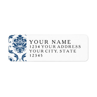 Nautical Navy Blue White Vintage Damask Pattern Label