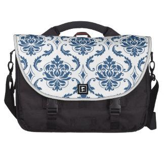 Nautical Navy Blue White Vintage Damask Pattern Commuter Bag