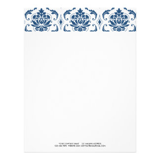 Nautical Navy Blue White Vintage Damask Pattern Letterhead Template