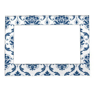 Nautical Navy Blue White Vintage Damask Pattern Magnetic Picture Frame