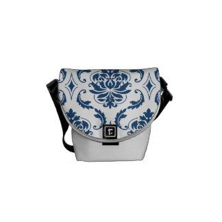 Nautical Navy Blue White Vintage Damask Pattern Messenger Bag