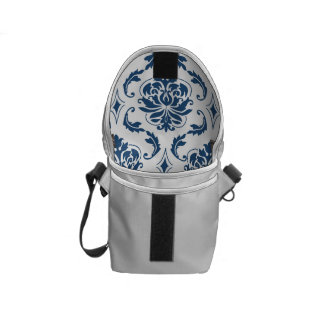 Nautical Navy Blue White Vintage Damask Pattern Courier Bags