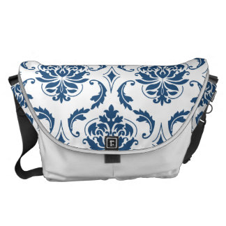 Nautical Navy Blue White Vintage Damask Pattern Courier Bag
