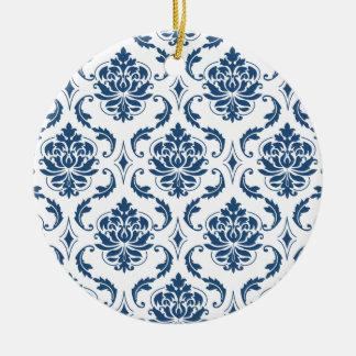 Nautical Navy Blue White Vintage Damask Pattern Christmas Tree Ornament