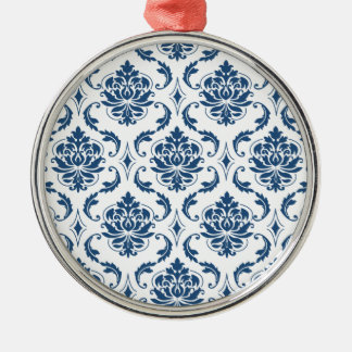 Nautical Navy Blue White Vintage Damask Pattern Christmas Ornaments