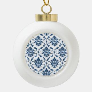 Nautical Navy Blue White Vintage Damask Pattern Ornaments