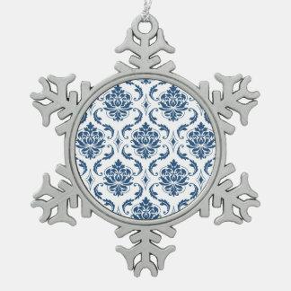 Nautical Navy Blue White Vintage Damask Pattern Ornament