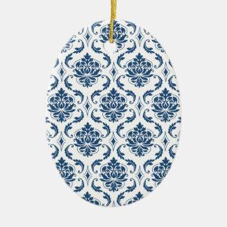 Nautical Navy Blue White Vintage Damask Pattern Christmas Ornament