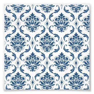Nautical Navy Blue White Vintage Damask Pattern Photo Print