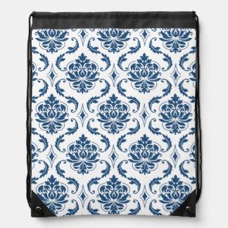 Nautical Navy Blue White Vintage Damask Pattern Drawstring Backpack