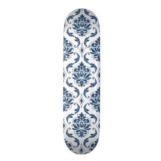 Nautical Navy Blue White Vintage Damask Pattern Skateboard