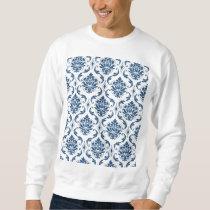 Nautical Navy Blue White Vintage Damask Pattern Sweatshirt