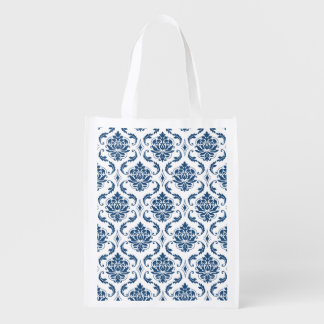 Nautical Navy Blue White Vintage Damask Pattern Grocery Bags