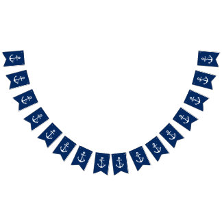 Nautical Navy Blue with White Anchor Bunting Flags