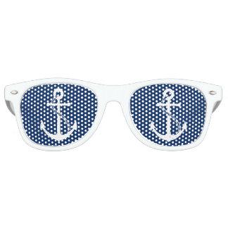Nautical Navy Blue with White Anchor Retro Sunglasses