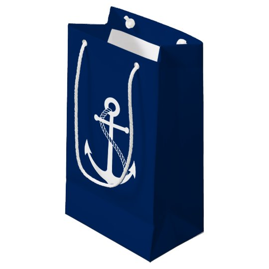 Nautical Navy Blue With White Anchor Small Gift Bag
