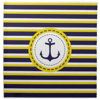 Nautical Navy Blue Yellow Stripes Anchor Design Cloth Napkins