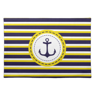 Nautical Navy Blue Yellow Stripes Anchor Design Cloth Placemat