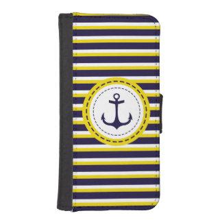 Nautical Navy Blue Yellow Stripes Anchor Design iPhone SE/5/5s Wallet