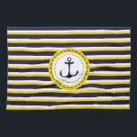 "Nautical Navy Blue Yellow Stripes Anchor Design Kitchen Towel<br><div class=""desc"">Stylish nautical yellow and dark blue striped pattern with anchor in the middle.</div>"