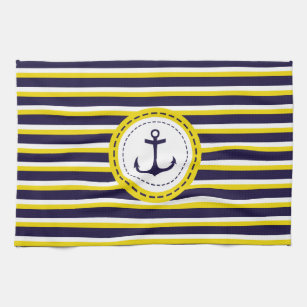 Nautical Navy Blue Yellow Stripes Anchor Design Kitchen Towel